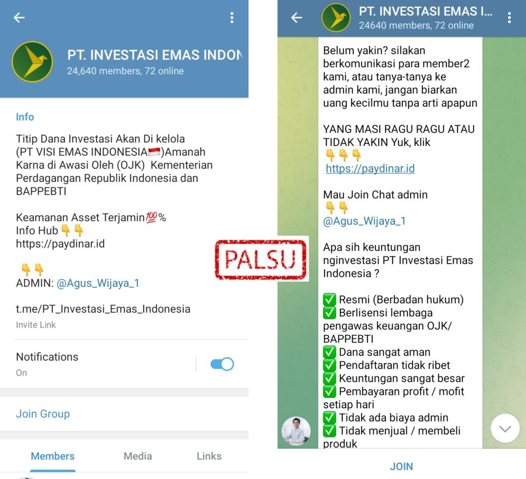 Penipuan Investasi Telegram Mengatasnamakan Paydinar